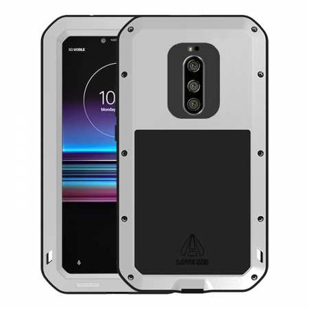 For Sony Xperia 1 LOVE MEI Waterproof Metal Gorilla Glass Case Silver