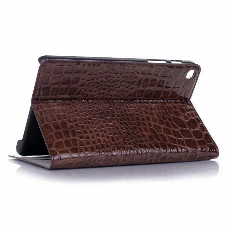 For Samsung Galaxy Tab A 8.0 2019 SM-P200/P205 Luxury Crocodile Skin Pattern Leather Case - Brown