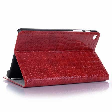 For Samsung Galaxy Tab A 8.0 2019 SM-P200/P205 Luxury Crocodile Skin Pattern Leather Case - Red