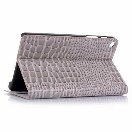For Samsung Galaxy Tab A 8.0 2019 SM-P200/P205 Luxury Crocodile Skin Pattern Leather Case - Grey
