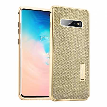 For Samsung Galaxy S10 Luxury Aluminum Metal Frame Carbon Fiber Cover Case - Gold