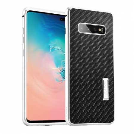 For Samsung Galaxy S10 Luxury Aluminum Metal Frame Carbon Fiber Cover Case - Black&Silver