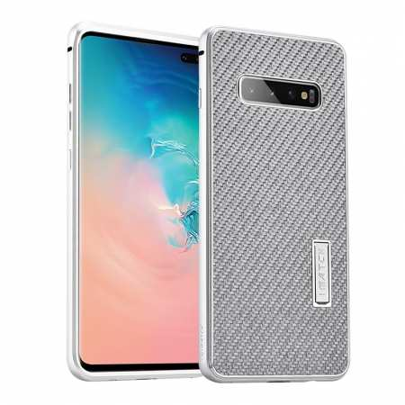 For Samsung Galaxy S10 Luxury Aluminum Metal Frame Carbon Fiber Cover Case - Silver