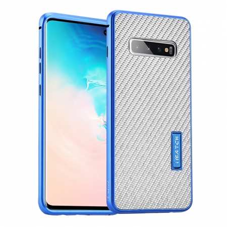 For Samsung Galaxy S10 Luxury Aluminum Metal Frame Carbon Fiber Cover Case - Silver&Blue