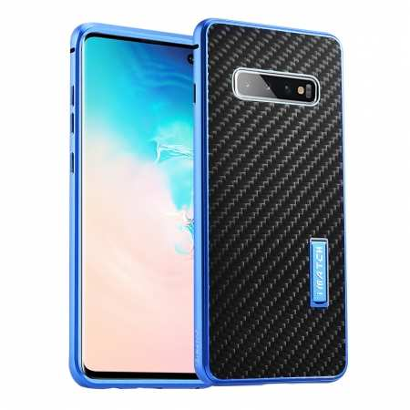 Shockproof Case for Samsung Galaxy S10 Plus Aluminum Metal Carbon Stand Cover - Black&Blue