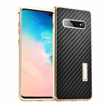 Shockproof Case for Samsung Galaxy S10 Plus Aluminum Metal Carbon Stand Cover - Black&Gold
