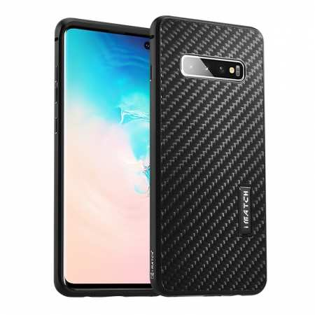 Shockproof Case for Samsung Galaxy S10 Plus Aluminum Metal Carbon Stand Cover - Black