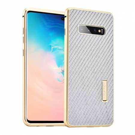 Shockproof Case for Samsung Galaxy S10 Plus Aluminum Metal Carbon Stand Cover - Silver&Gold