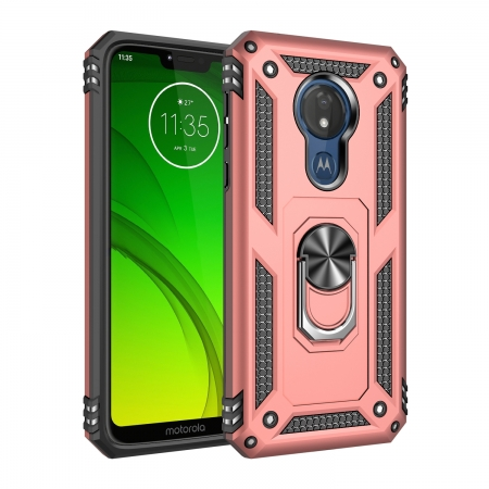For Motorola Moto G7 Power Case Ring Holder Magnetic Stand Phone Cover - Rose Gold