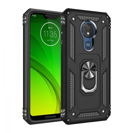 For Motorola Moto G7 Power Case Ring Holder Magnetic Stand Phone Cover - Black