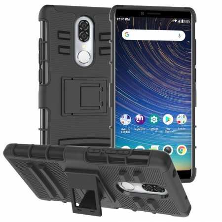 For Coolpad Legacy Case Rugged Armor Hybrid Shockproof Kickstand Phone Cover - Black