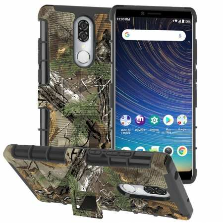 For Coolpad Legacy Case Rugged Armor Hybrid Shockproof Kickstand Phone Cover - Wood