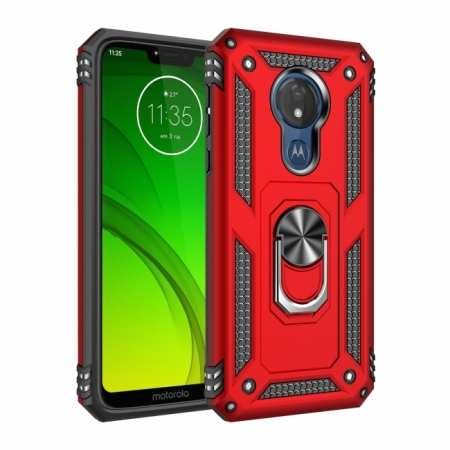 For Motorola Moto G7 Power Case Ring Holder Magnetic Stand Phone Cover Red