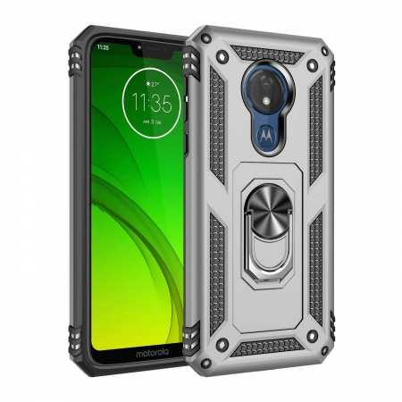 For Motorola Moto G7 Supra Case Ring Holder Magnetic Stand Phone Cover - Silver