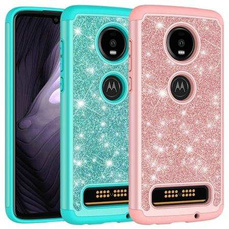 For Motorola Moto Z4 Case Glitter Sparkle Bling Shockproof Phone Cover
