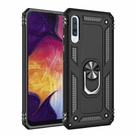 For Samsung Galaxy A50 Case Shockproof Hybrid Armor Ring Holder Stand Cover - Black