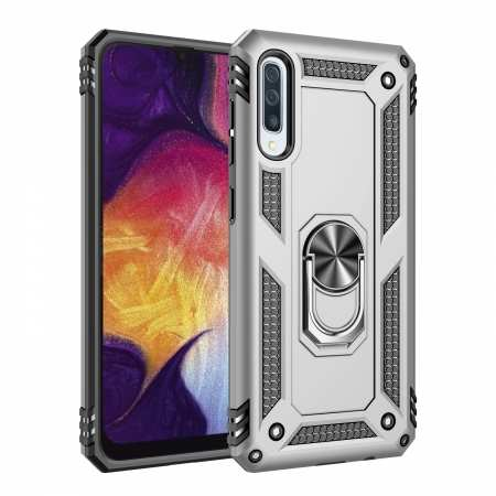 For Samsung Galaxy A50 Case Shockproof Hybrid Armor Ring Holder Stand Cover - Silver