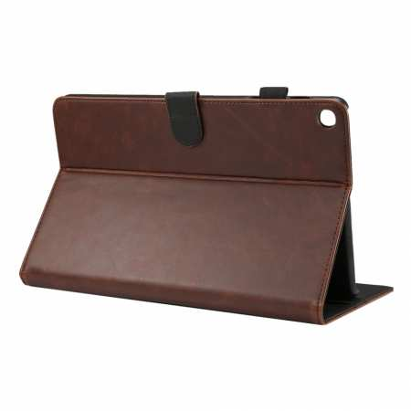 "For Samsung Galaxy Tab A (2019) 10.1"" SM-T510/T515 Crazy Horse Grain Leather Stand Flip Case - Dark Brown"