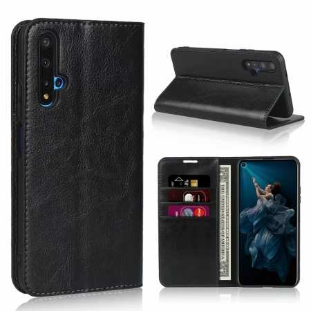 For Huawei Honor 20 Crazy Horse Wallet Flip Genuine Leather Case - Black