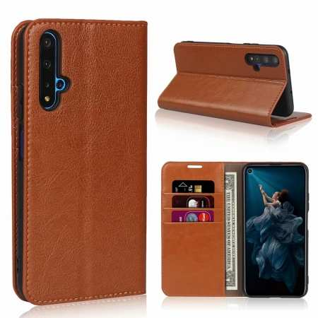 For Huawei Honor 20 Crazy Horse Wallet Flip Genuine Leather Case - Brown
