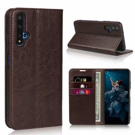 For Huawei Honor 20 Crazy Horse Wallet Flip Genuine Leather Case - Dark Brown