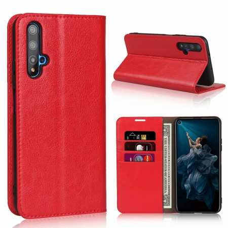 For Huawei Honor 20 Crazy Horse Wallet Flip Genuine Leather Case - Red