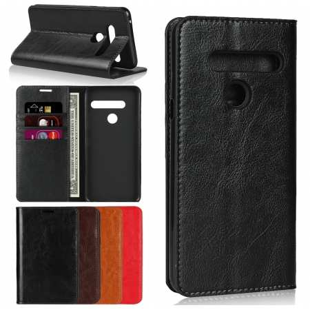 For LG G8 ThinQ Genuine Leather Flip Card Holder Wallet Case