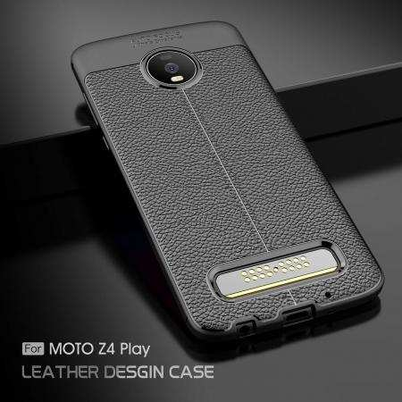 For Motorola Moto Z4, Anti-Skid Shockproof Case Tpu Soft Leather Cover