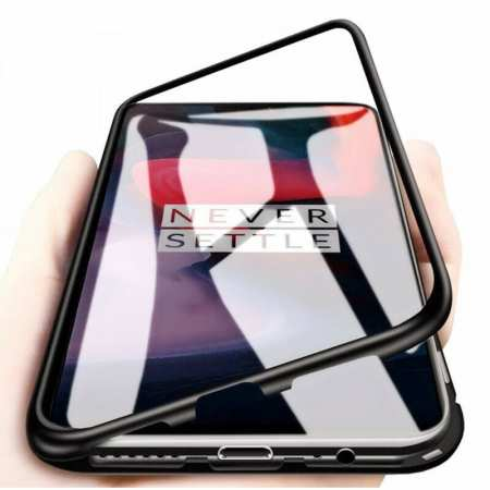 For OnePlus 7 Pro Magnetic Adsorption Metal Tempered Glass Back Case Cover