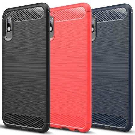 For Samsung Galaxy A10e Case Shockproof Carbon Fiber Soft TPU Cover