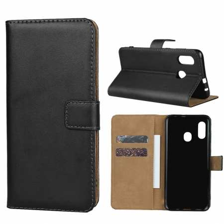 For Samsung Galaxy A30 - Genuine Leather Card Slots Wallet Case Cover Black