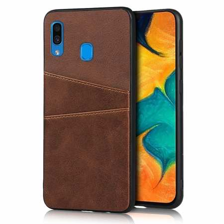 For Samsung Galaxy A30 Shockproof Wallet Card Holder Case Cover - Dark Brown