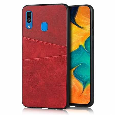For Samsung Galaxy A30 Shockproof Wallet Card Holder Case Cover - Red