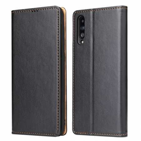 For Samsung Galaxy A50 Vintage Magnetic Leather Case - Black