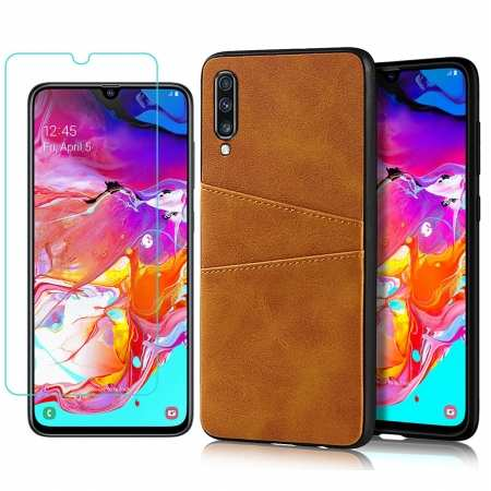 For Samsung Galaxy A70 Leather Wallet Card Holder Case Cover+Screen Protector - Brown