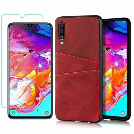 For Samsung Galaxy A70 Leather Wallet Card Holder Case Cover+Screen Protector - Red