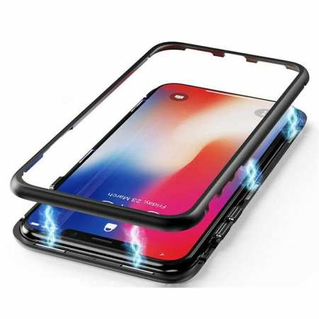 For Samsung Galaxy A70 Magnetic Adsorption Metal Tempered Glass Case Cover