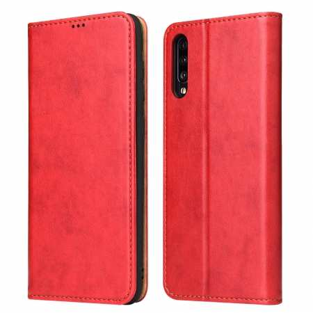 For Samsung Galaxy A70 Stand Flip Leather Case - Red