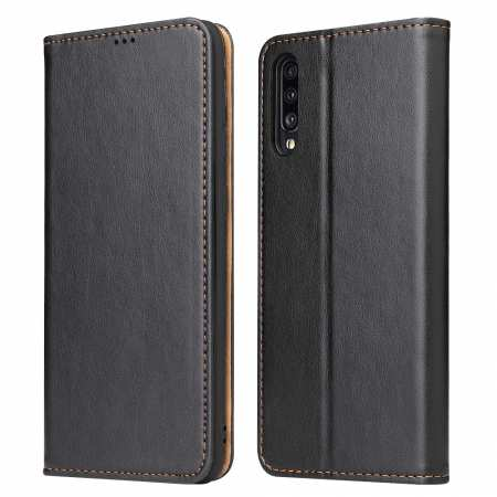 For Samsung Galaxy A70 Stand Flip Leather Case - Black