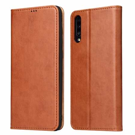 For Samsung Galaxy A70 Stand Flip Leather Case - Brown