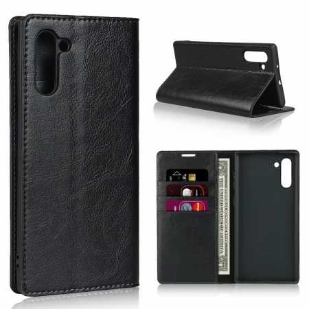 For Samsung Galaxy Note 10 Crazy Horse Genuine Leather Case - Black