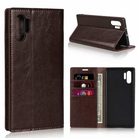 For Samsung Galaxy Note 10 Pro Crazy Horse Genuine Leather Wallet Case - Dark Brown