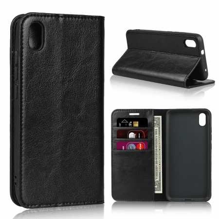 For Xiaomi Redmi 7A - Genuine Leather Card Slots Wallet Case Cover Black