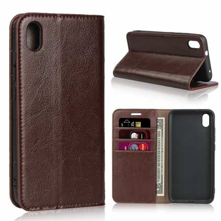 For Xiaomi Redmi 7A - Genuine Leather Card Slots Wallet Case Cover Coffee