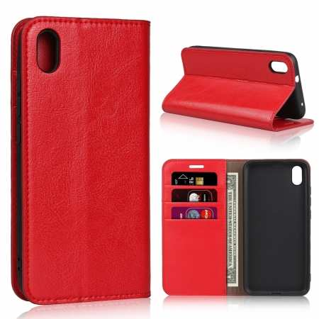 For Xiaomi Redmi 7A - Genuine Leather Card Slots Wallet Case Cover Red