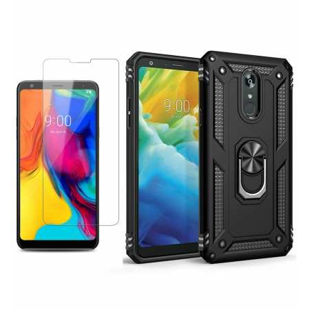 For LG Stylo 5 / 5 Plus Phone Case Shockproof Hybrid Cover With Screen Protector - Black