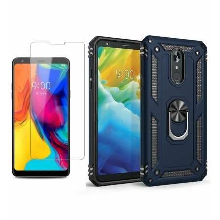 For LG Stylo 5 / 5 Plus Phone Case Shockproof Hybrid Cover With Screen Protector - Navy Blue