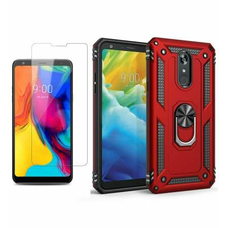 For LG Stylo 5 / 5 Plus Phone Case Shockproof Hybrid Cover With Screen Protector - Red