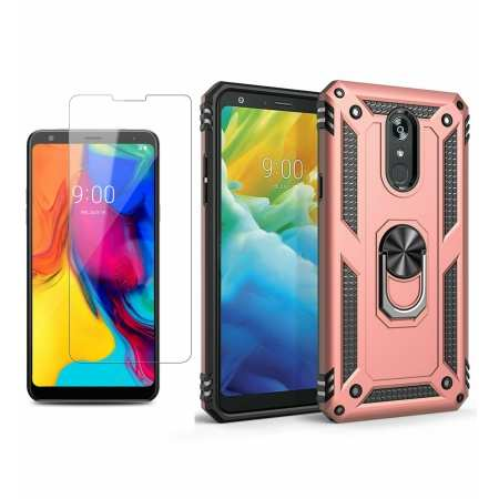 For LG Stylo 6 5 / 5 Plus Phone Case Shockproof Hybrid Cover With Screen Protector - Rose Gold