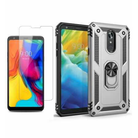 For LG Stylo 5 / 5 Plus Phone Case Shockproof Hybrid Cover With Screen Protector - Silver